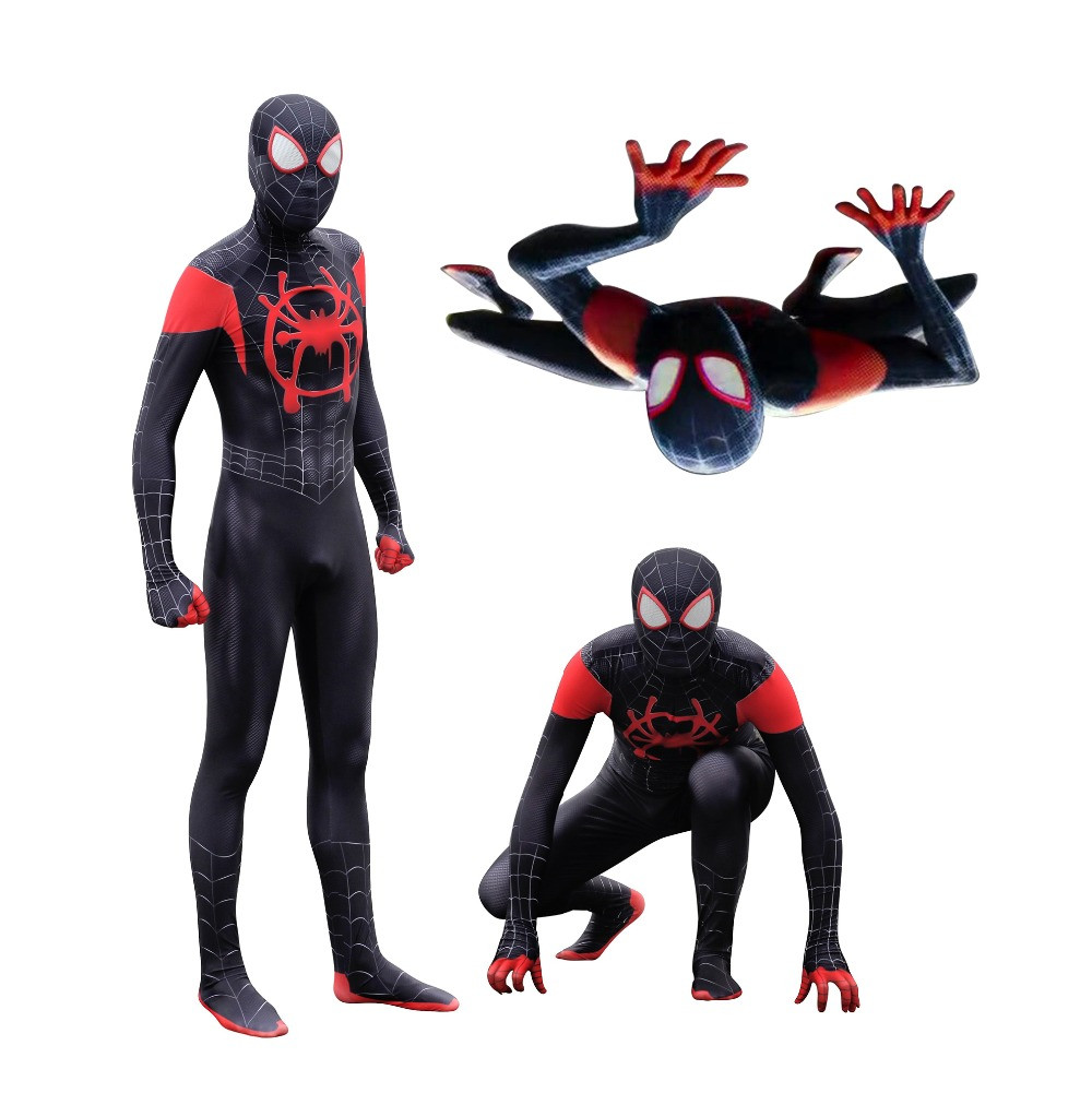 Saints' All Hallows' Day Spider-Man: Into the Spider-Verse black Miles Morales Cosplay Costumes tights adults/children/kids