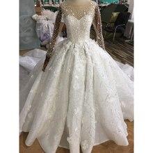 Lüks Prenses Balo Elbisesi Arapça Gelinlik Sheer Uzun Kollu Çiçek Aplikler Boncuk Gelin Elbise Vestido De Novia 2019