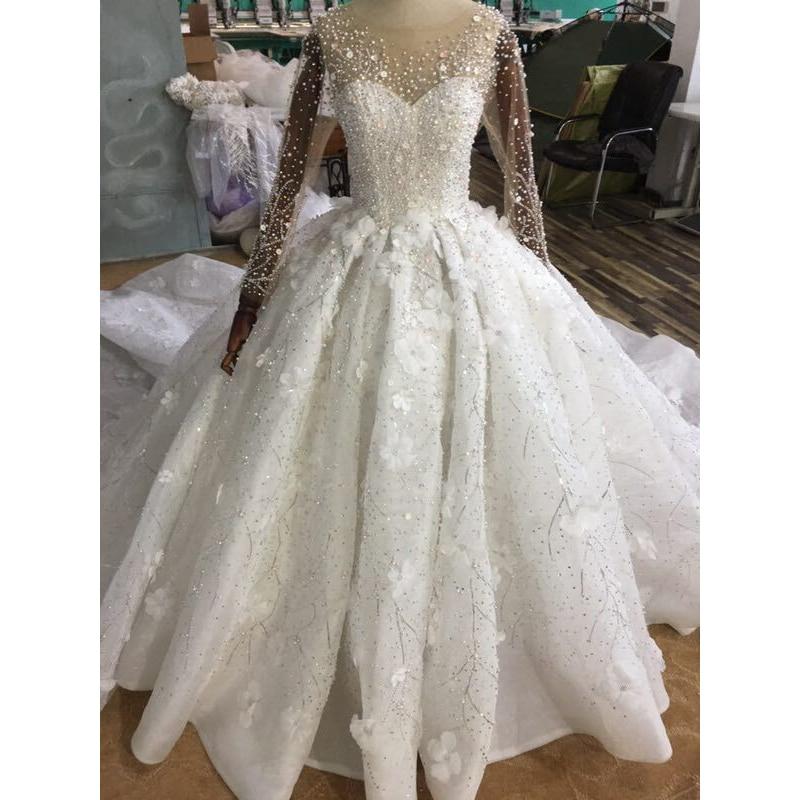 Luxury Princess Ball Gown Arabic Wedding Dresses Sheer Long Sleeves Floral Appliques Beading Bridal Dress Vestido De Novia 2019