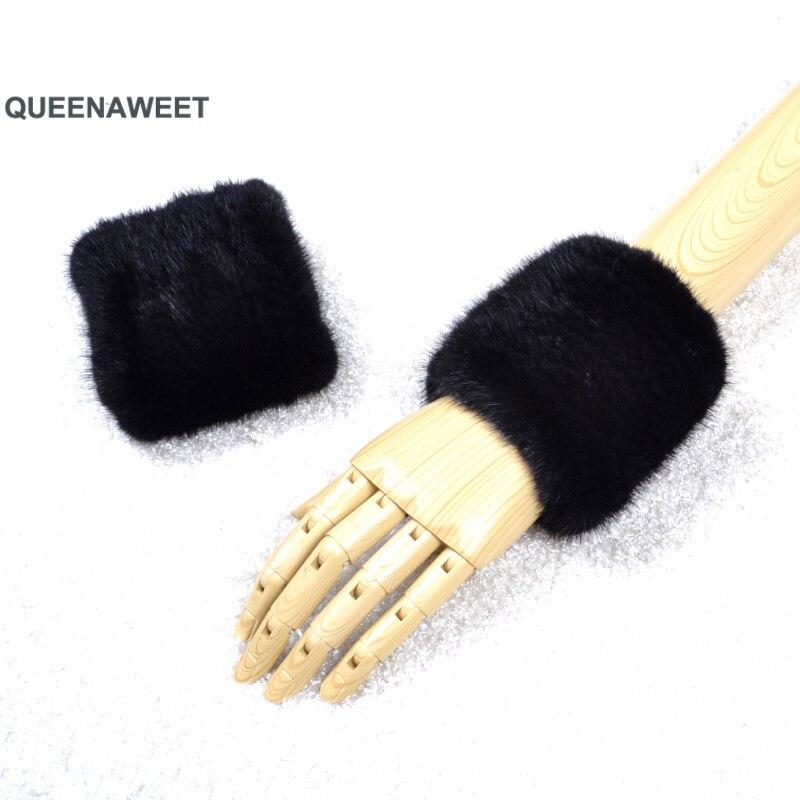 Épaissir les femmes hiver chaud poignet bras gants mode noir raton laveur fourrure manchette dame Bracelet Bracelet bras Warme - 3