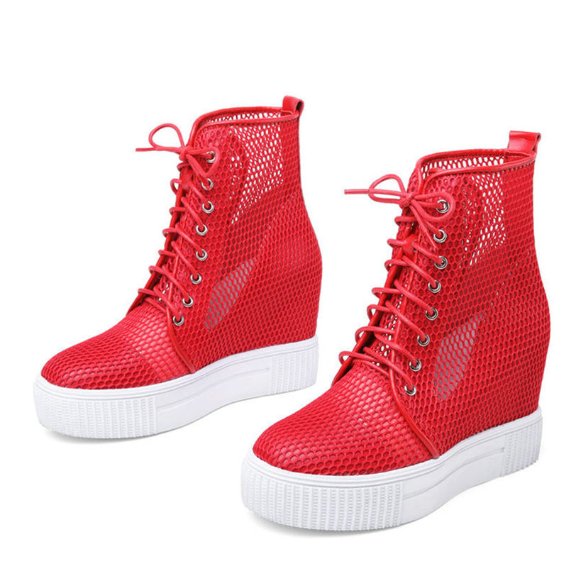 Trainers Women Lace Up Genuine Leather Wedges Pumps Breathable Mesh High Heel Summer Ankle Boots Punk Platform Sneaker Shoes in Ankle Boots from Shoes