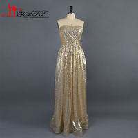 2016 Real Photo High Quality Champagne Gold Sequins Long Bodice Elegant Cheap Bridesmaid Dress Wedding Party