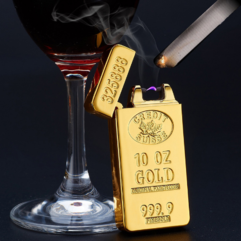 VOLTOP Gold Bullion Electric Arc Pulse Lighter Windproof Cigarette Lighter USB Charge Relief Cool Noble Rich Smoking Accessories