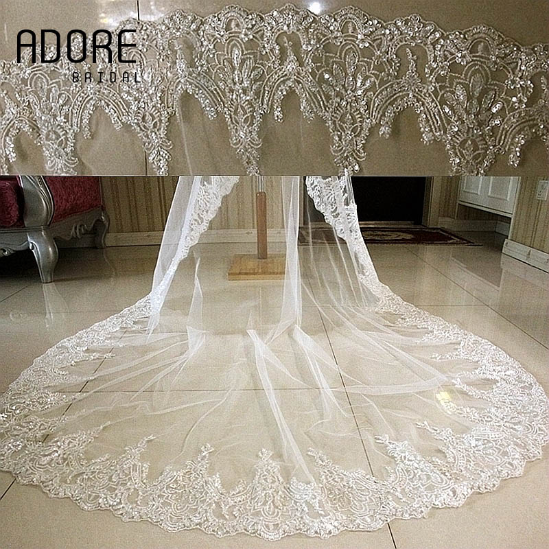 3 M Sequin Lace Purfles Long Cathedral White Ivory Tulle Wedding Veil Sparkly Bling Bridal Veils Accessories No Comb In From Weddings