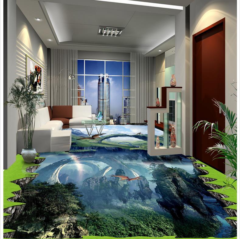 dolphin 3D wallpaper floor for living room Custom Photo self-adhesive 3D floor  PVC waterproof floor  3d floor wallpapers
