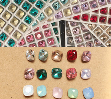 100PCS/Lot New Nail Mix Color Opal 6*6MM Art Opal&Rhinestones Fashion Marquise Fat Square Crystal 3D DesignS#1984-1998