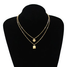 цена на Fashion Simple Geometric Choker Chain Necklace Women Sequins Pendant Layered Clavicle Necklace Jewelry