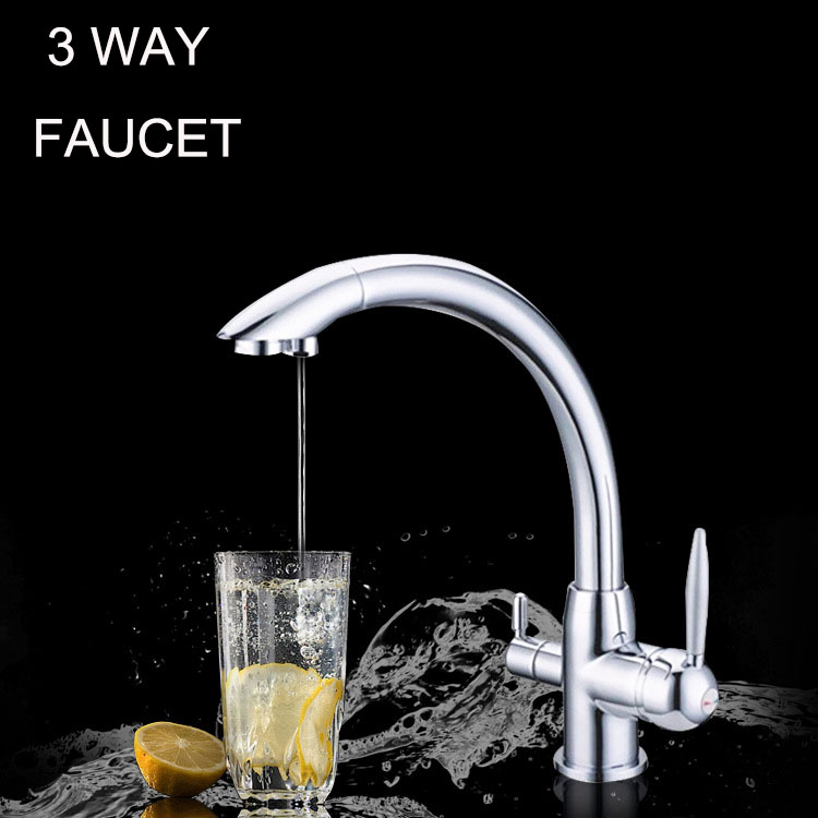 Kitchen Water Filter Faucet Chrome 100% Copper Swivel Filter Sink Tap Mixer Drinking Water 3 Way Water Filter Tap sognare 100% brass marble painting swivel drinking water faucet 3 way water filter purifier kitchen faucets for sinks taps d2111