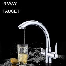 Смеситель для кухни смеситель Хром 100% Медь Поворотный Раковина Смеситель Питьевой Воды 3 Способ Фильтр Для Воды Кран вода