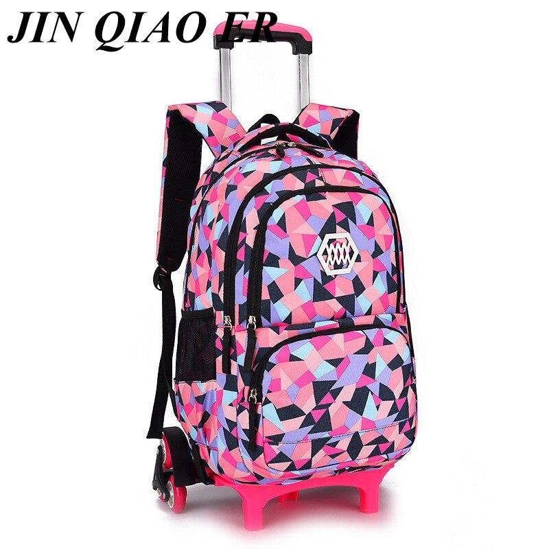 2 6 Wheels Children Trolley School Bag Backpack Wheeled School Bag For Grils Boys Detachable Kids