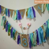 Under The Sea Inspired Party Event Bunting Sets Personalized Name Garland Highchair Buntings And Cake Smash Banner Free Shipping