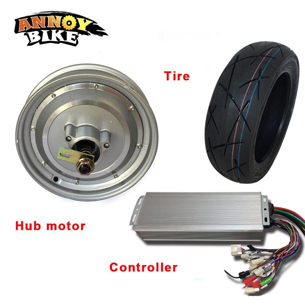 Motor de cubo de 10 pulgadas, 48V, 60v, 72v, 1000-2000W, Kit de Motor de cubo con controlador combinado para motocicleta eléctrica, rueda de coche ecológico DIY