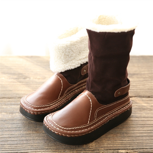 Hot Sale Winter Womens Casual Boots Online Genuine Leather Mid Calf Boots Fashion Brown Handmade Snow Boots