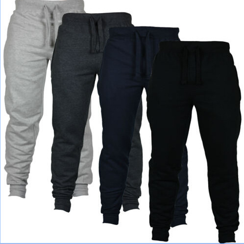 Men's Sweatpants Bodybuilding-Pants European-Code New Brushed The-Waist Small-Size Solid-Color