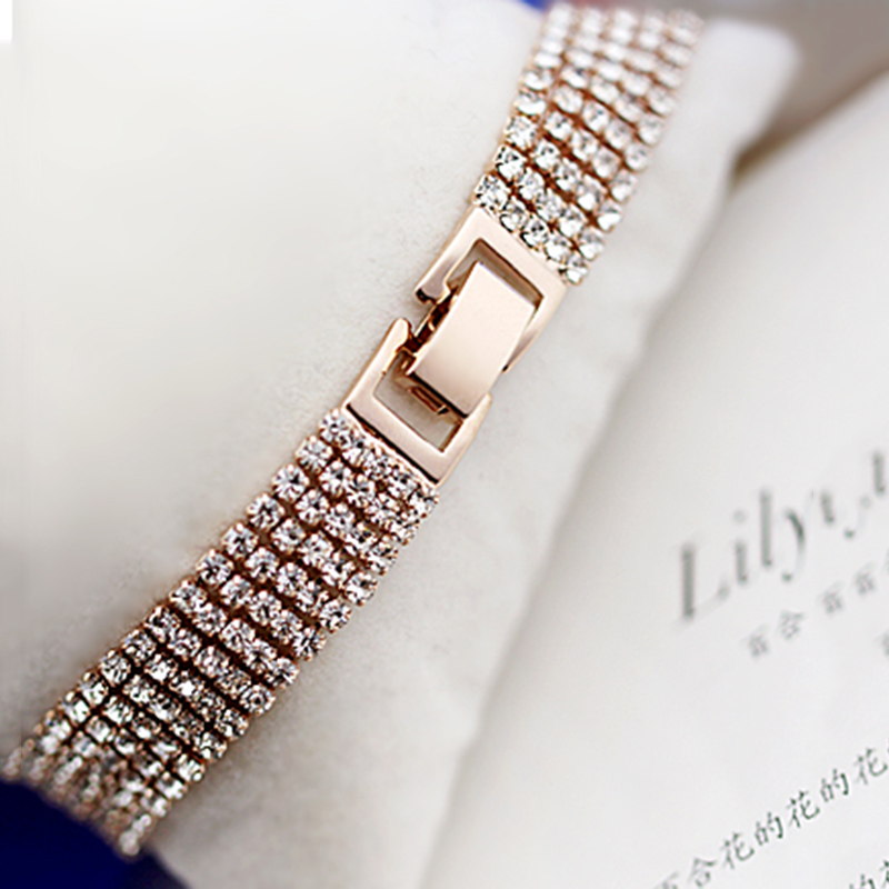 YFJEWE 2018 Elegant Fashion Rhinestone Ladies Brief Crystal Multi-Layer Tassel Bracelet Female Bohemia Wholesale Price B017(China)