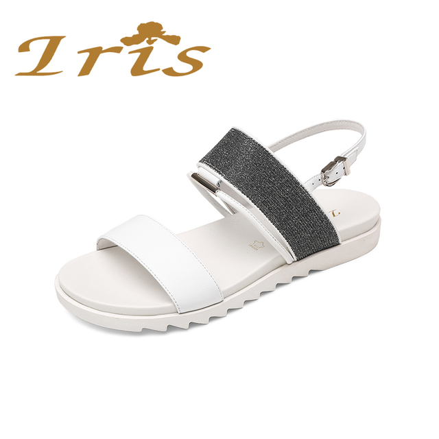 6d1915719757 IRIS White Soft Flat Sandals For Women 2017 New Arrival Summer Genuine Leather  Back Strap Comfortable Woman Shoes High Quality