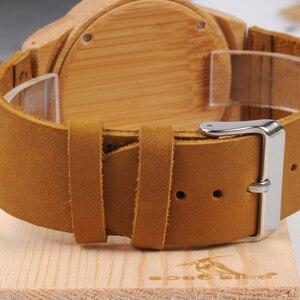 Image 5 - レロジオ masculino ボボ鳥メンズ腕時計手作りグリーン木製革バンドクォーツ腕時計受け入れるロゴドロップシッピング