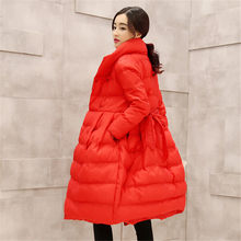 Mew style Winter Coat Down jacket Women Winter jacket Long Thick Stand collar High quality Eiderdown cotton Warm coat BN1187(China)