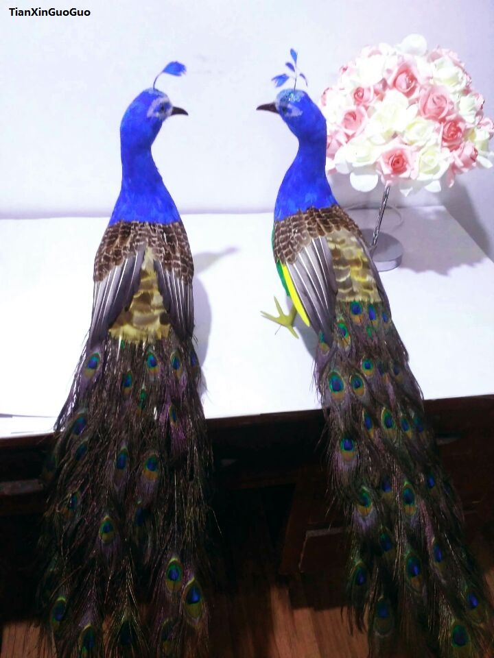 beautiful feathers lovers peacock bird hard model large 80cm simulation peacocks one pair, home garden decoration gift s1506 finding one s way into god s garden