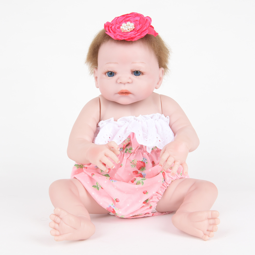 55cm Soft Full Silicone Vinyl Reborn Baby Doll Realistic Princess Girl Dolls for Children Kids Toy Birthday Xmas New Year Gift 22 inch soft full silicone vinyl reborn baby doll lovely sleeping girl dolls for children kids toy birthday xmas new year gift