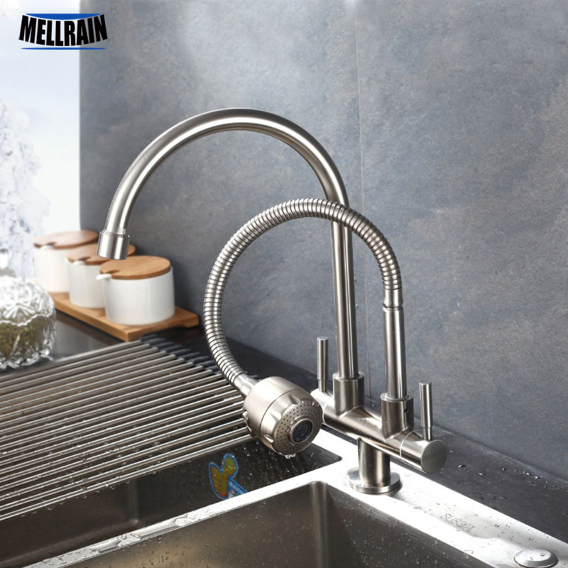 Double Tap Head Single Cold Kitchen Faucet Free Rotation Multipurpose 304 Stainless Steel Single Hole Sink Water Tap