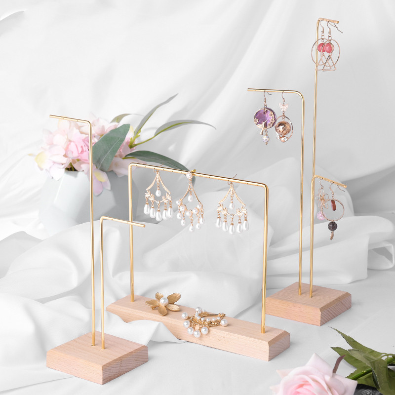 Brief Solid Wood Metal Earrings Display Holder Chain Necklace Pendant Display Stand Jewelry Showcase
