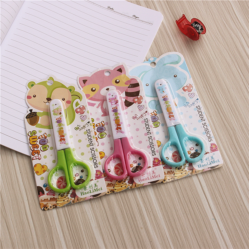 3Colors Kawaii Scissors Portable Paper-Cutting Scissors  Cover Safety Scissors Student DIY Paper Cutting Knife School Supplies