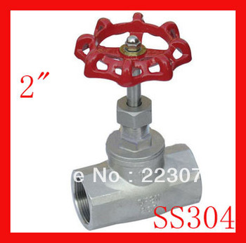 """Free shipping New arrival DN50 2"""" SS304 Stainless steel Female Globe Shutoff valve for water, oil and gas"""