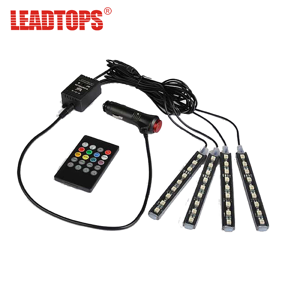 LEADTOSP 1 set fond de voiture LED De Voiture 12 V Glow Intérieur Décoratif 4in1 AUTO Bleu Lumière Pied Lampe Pour golf 4/kia rio/passat/mazda DJ