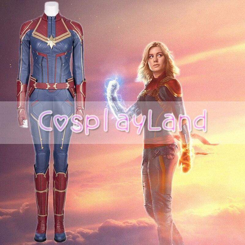 2019 Capitaine Marvel Carol Danvers costume Cosplay Super-Héros Costumes Cosplay Mme Marvel Salopette Captain Marvel déguisement