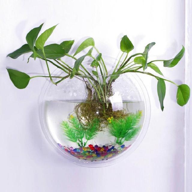 XS/S/M Transparent Wall Hanging aquarium Acrylic Fish Bowl Home DIY ...