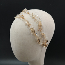 Delicate Double Band Bridal Hair Vine Headband Gold Leaf And Floral Wedding Headpiece Crystal Luxury Brides Accessories
