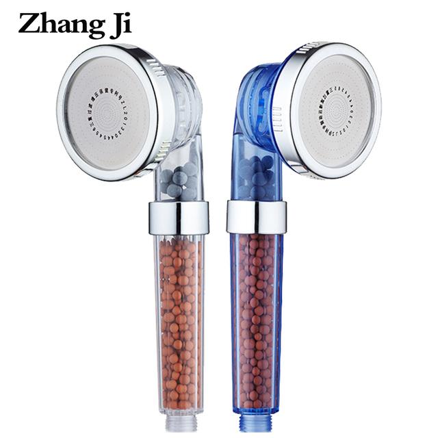 ZhangJi 3 Function Adjustable Jetting Shower Head Bathroom High Pressure Saving Anion Filter SPA Shower Heads Cardboard Packing
