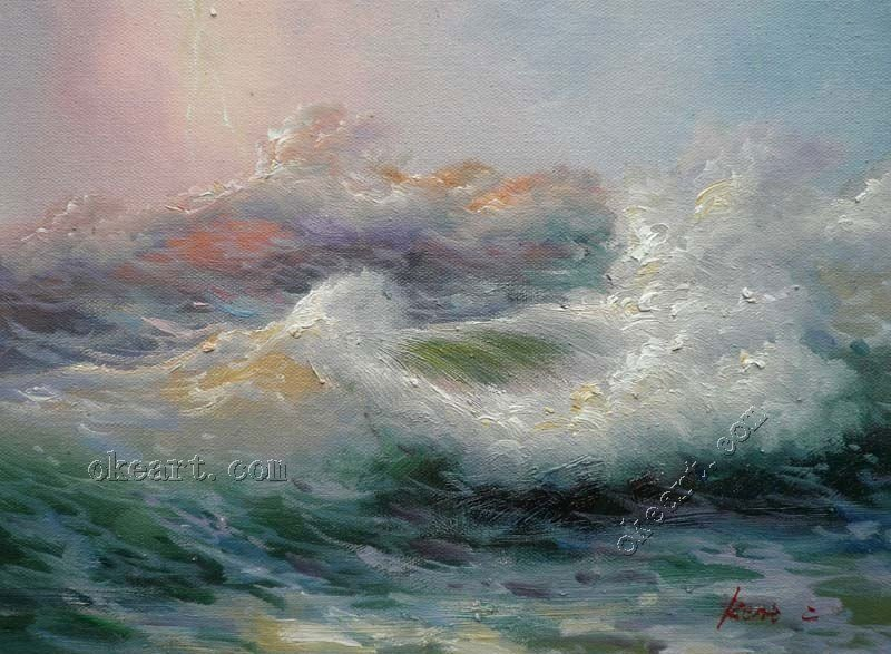 Office Painting Contemporary Wall Painting Ocean Waves At
