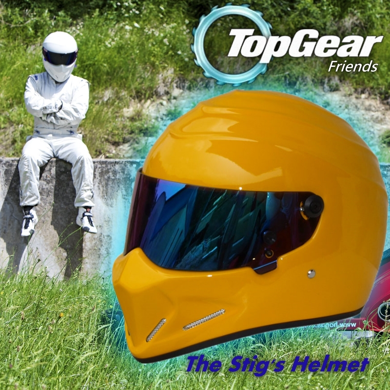 Who's the stig ?/ For Top gear The STIG Helmet with Colorful Visor / TG Collectable / as SIMPSON Pig / Yellow Motorcycle Helmet лонгслив stig лонгслив
