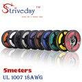Striveday 5 М 18 AWG кабель 16.4 FT Гибкая Мель 10 цвета UL 1007 Электронный Провод Проводник Для DIY медные провода 18awg