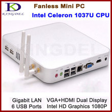 Безвентиляторный металлический корпус неттоп, HTPC, Intel Celeron Dual Core, 4 ГБ ОЗУ 500 ГБ HDD, Wi-Fi, 1080 P HDMI