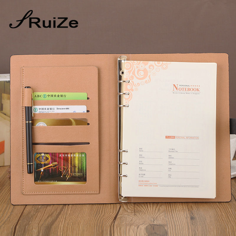 Image 2 - RuiZe Faux leather spiral notebook A5 office planner agenda organizer business stationery loose leaf note book 6 ring binder-in Notebooks from Office & School Supplies