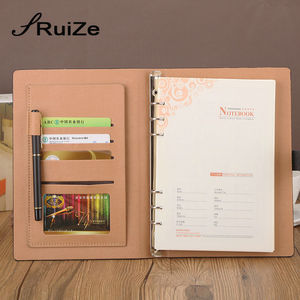 Image 2 - Спиральный блокнот из искусственной кожи RuiZe, офисный блокнот формата A5, 2020, блокнот с листьями россыпью, блокнот с 6 кольцами, канцелярские принадлежности
