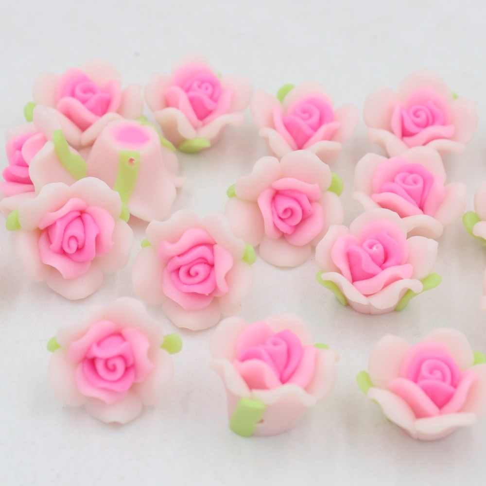 New Size 12/15/20mm Mixed Polymer Clay Flower Design By Rose Flower For DIY Jewelry Making