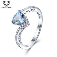 DOUBLE R 925 Sterling Silver Ring Female 1 0ct Triangle Natural Blue Topaz Rings Romantic Gemstone