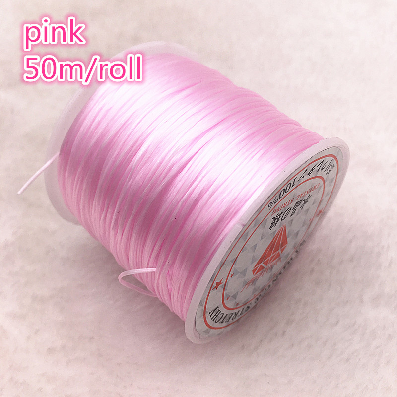 50M/Roll Pink Flexible Elastic Crystal Line Rope Cord For Jewelry Making Beading Bracelet Wire Fishing Thread Rope #08