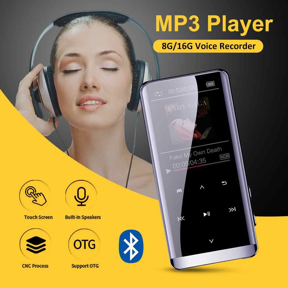 OTG reproductor MP3 grabadora de voz Bluetooth 4,2 pantalla táctil 1,8 pulgadas portátil HIFI 5D reproductor de música 8 GB/16 G reproductor MP3 Ultra delgado FM