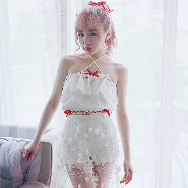 Princess sweet lolita Tube Tops BOBON21 girl cotton sweet cross lacing tube tops with bow and lace T1380