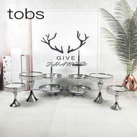 Wholesale Decoration Supplies Wedding Set Tray Crystal Silver Plated Round Metal Mirror 3 tier Cake Stand