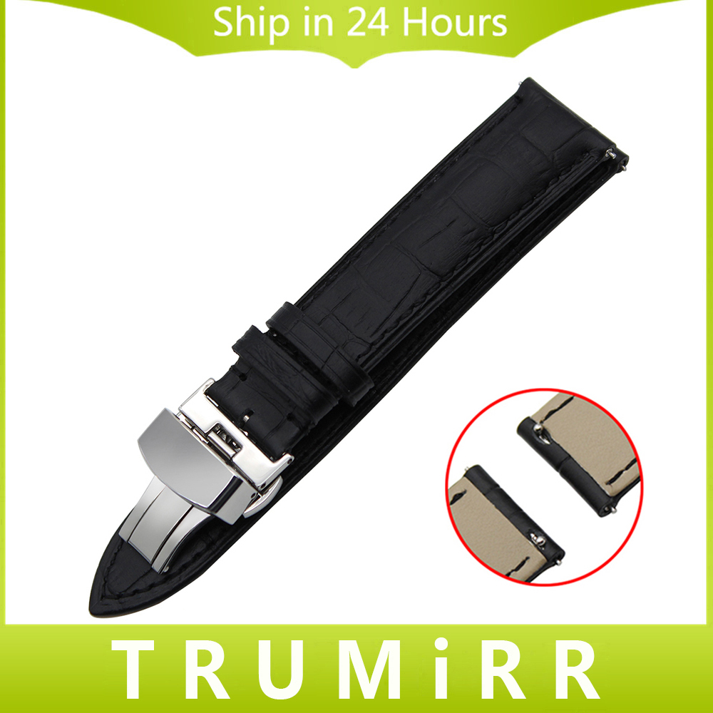 22mm Quick Release Watchband for Ferrari Calf Genuine Leather Watch Band Butterfly Buckle Strap Wrist Belt Bracelet Black Brown genuine leather watch band 22mm for pebble time steel stainless pin buckle strap quick release wrist belt bracelet black brown