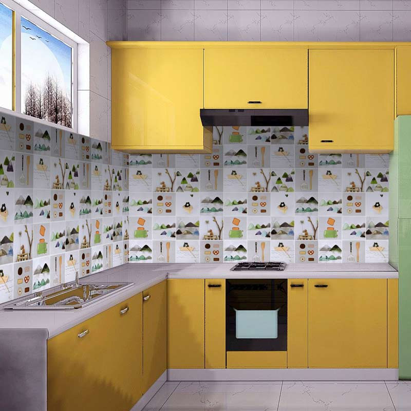 60cm x 3m Cartoon foil warm stickers kitchen tiles anti-oil stove hood sticker цены