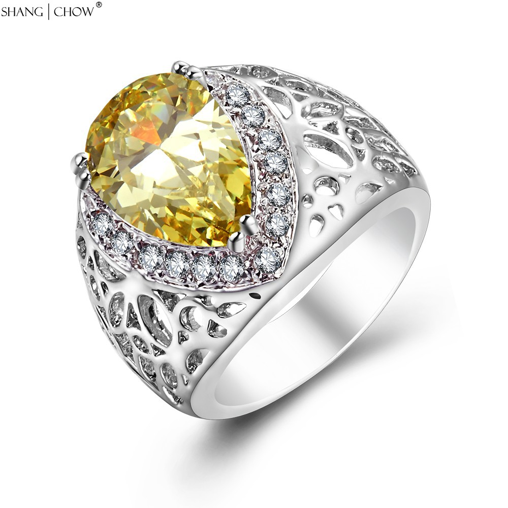 New Charm Jewelry water drop Yellow Quartz Stone 925 Sterling Silver Ring for women Gift R1478