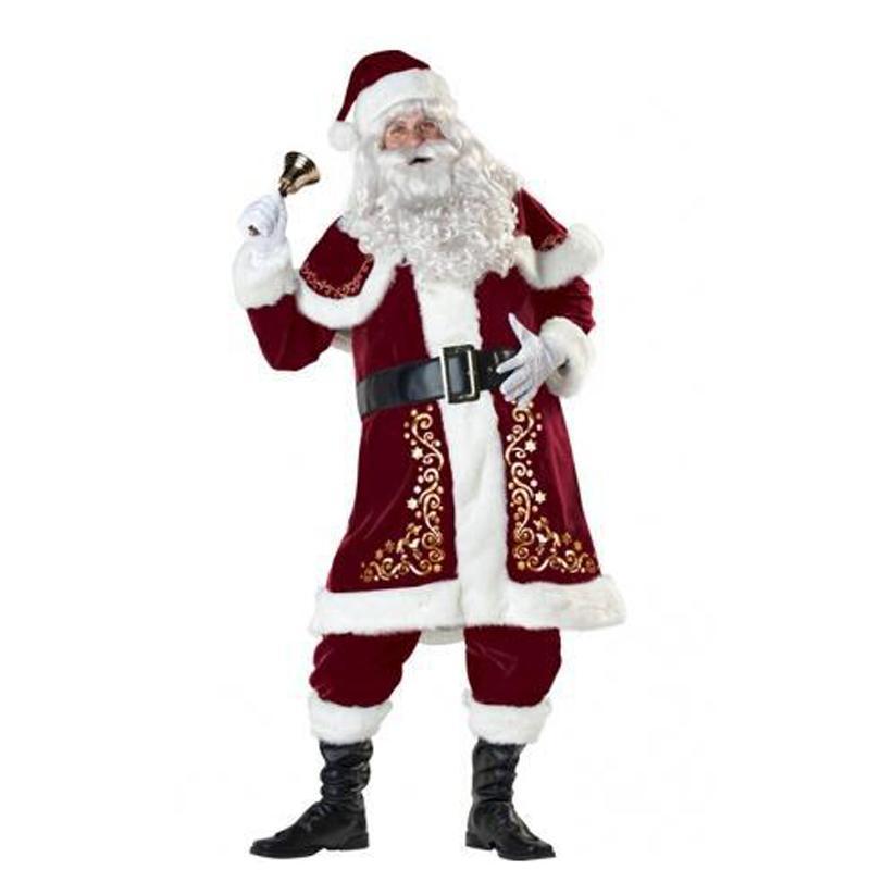 4XL 3XL Santa Claus Men Cosplay Costumes with White Beard Full Set Christmas Clothes for Adult New Year Party Fun Dress Outfit