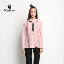 Ladies Office Blouse 2017 Luxury Women Blouse EE Women Pink Blouse Formal Shirt Designs for Women